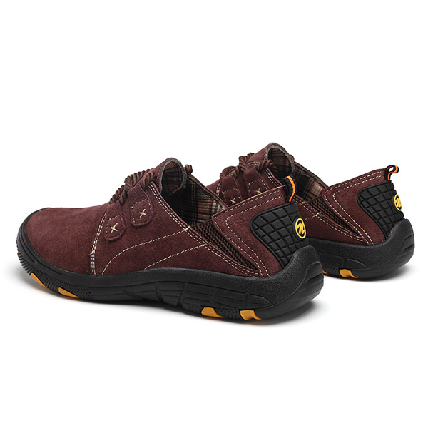 Men Comfortable Elastic Band Leather Anti Collision Toe Hiking Shoes Oxfords
