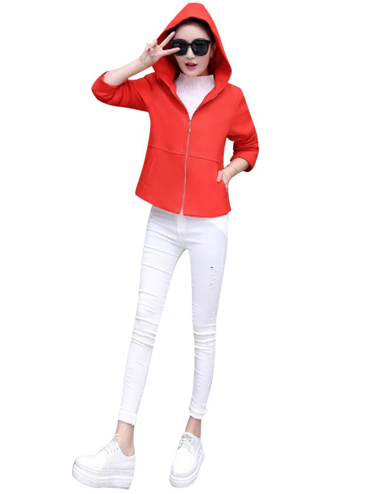 Casual Solid Hooded Long Sleeve Zipper Woolen Women Jacket