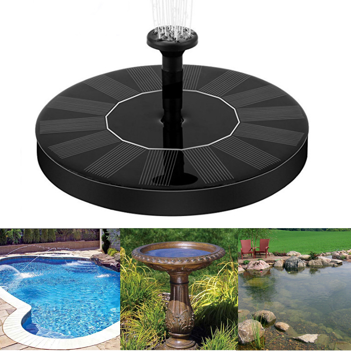 Solar Power Fountain Pump Kit Pool Garden Pond Watering Pumps Water Pump