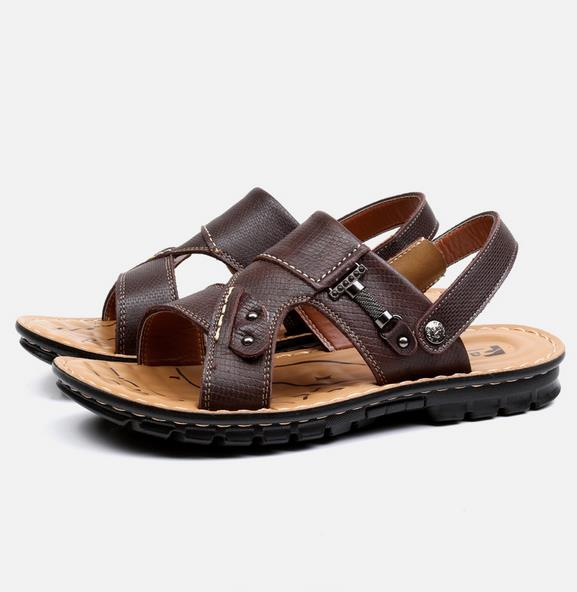 Outdoor Men Summer Sandals Non-slip Comfortable Breathable Beach Casual Leather Flats Shoes