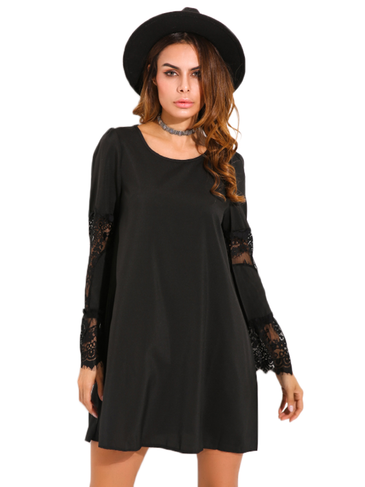 Women Crochet Lace Hollow Out Dress