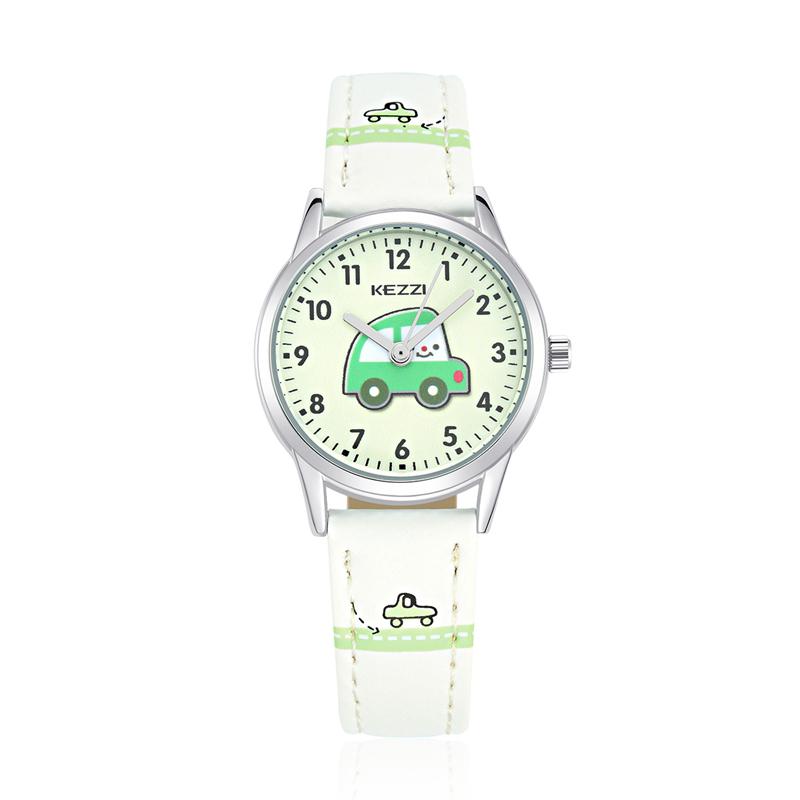 Cartoon Car Pattern PU Leather Strap Kids Student Cute Quartz Wrist Watch