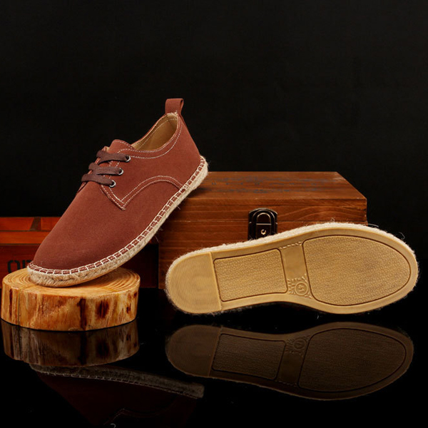 Men Shoes Outdoor Casual Flat Sport Comfortable Lace Up Canvas Straw Sneakers Shoes