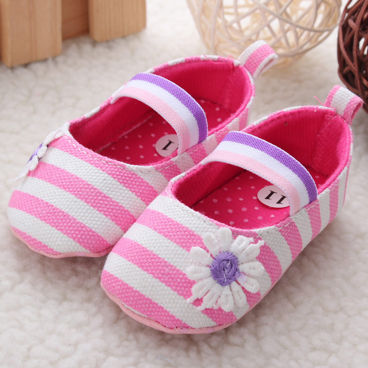 Baby Infant Soft Sole Shoes Canvas Floral Stripe Girl Toddler Princess