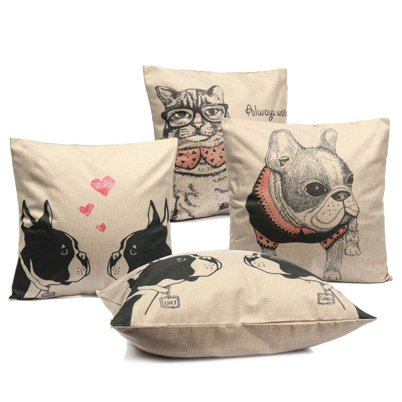 Cartoon Cat Dogs Throw Pillow Case Square Cushion Cover Home Office Sofa Car Decor