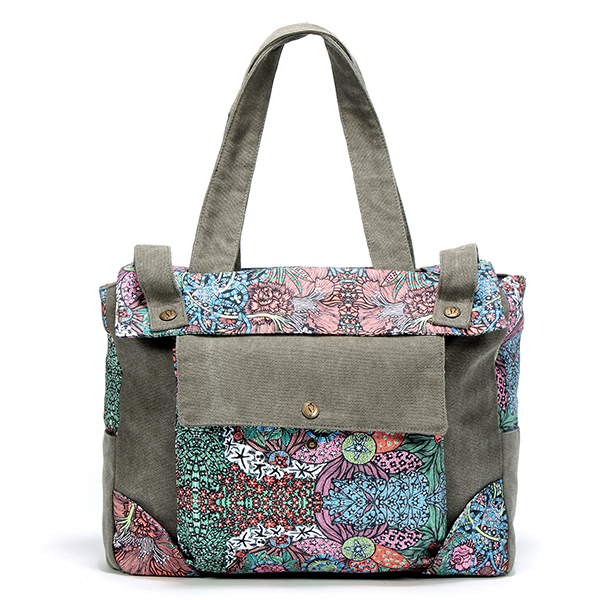 Women Canvas National Floral Printing Handbag Shoulder Bag