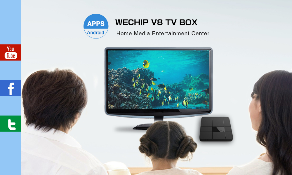 Wechip V8 Amlogic S905W Quad-Core 2GB RAM 16GB ROM 2.4GHz WiFi Android 7.1 Mini Pc TV-Box