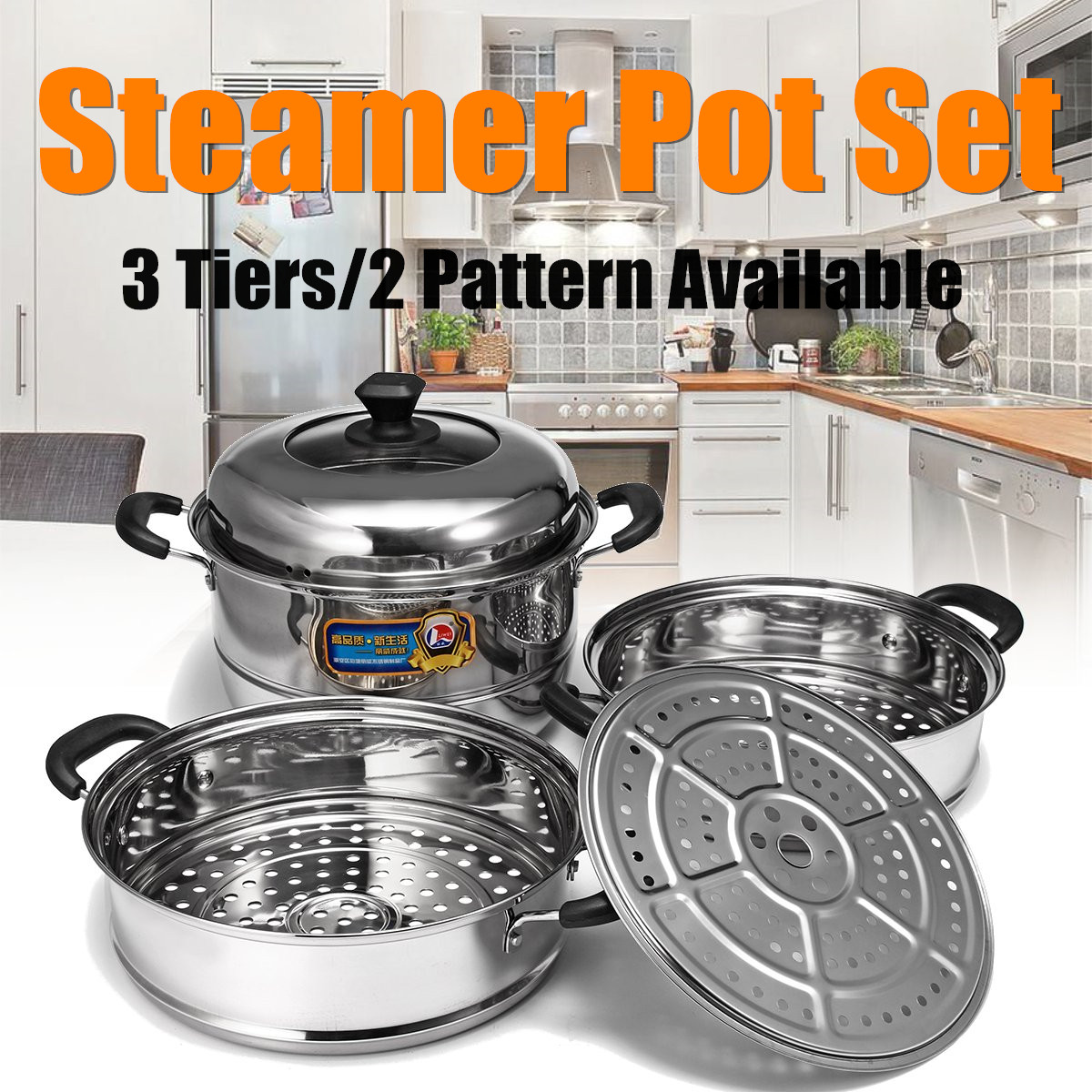 28/32cm 3 Tier Stainless Steel Steamer Cookware Steam Pot Set Kitchen Cooking Tools