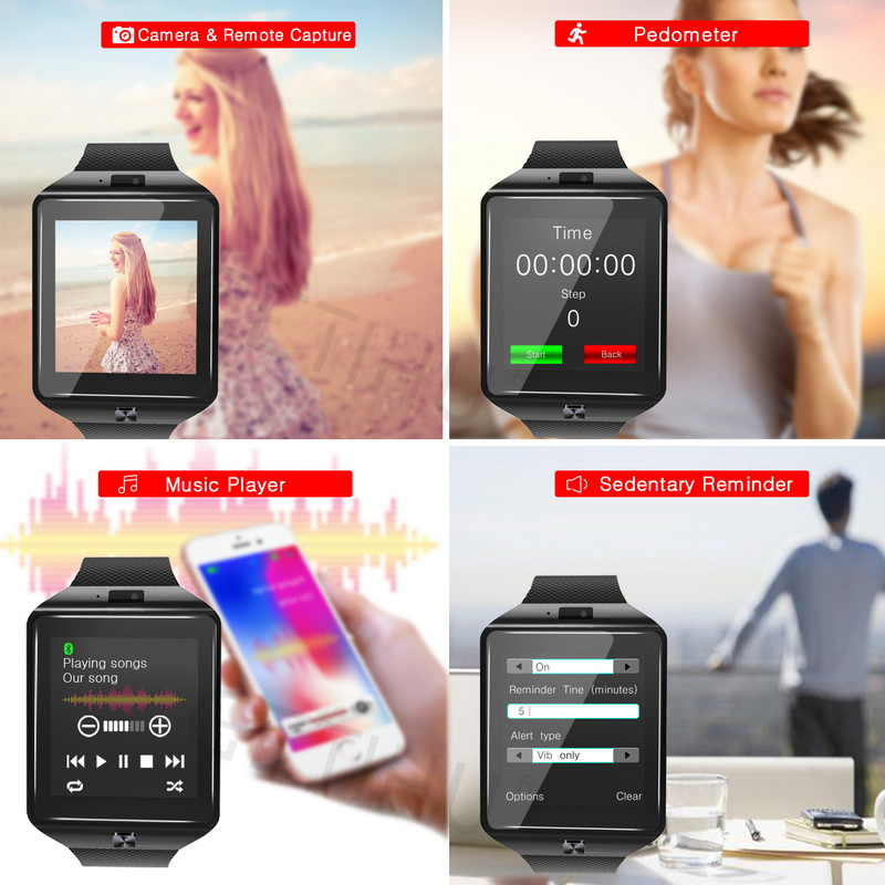 DZ09 1.56Inch TFT LCD Touch Screen Pedometer Camera bluetooth Smart Watch For iphoneX Samsung S8