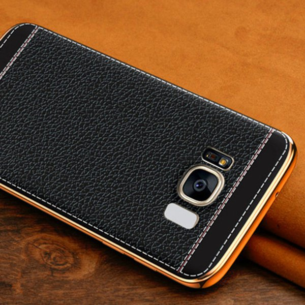 Plating Litchi Texture Leather+TPU Case For Samsung Galaxy S8 Plus