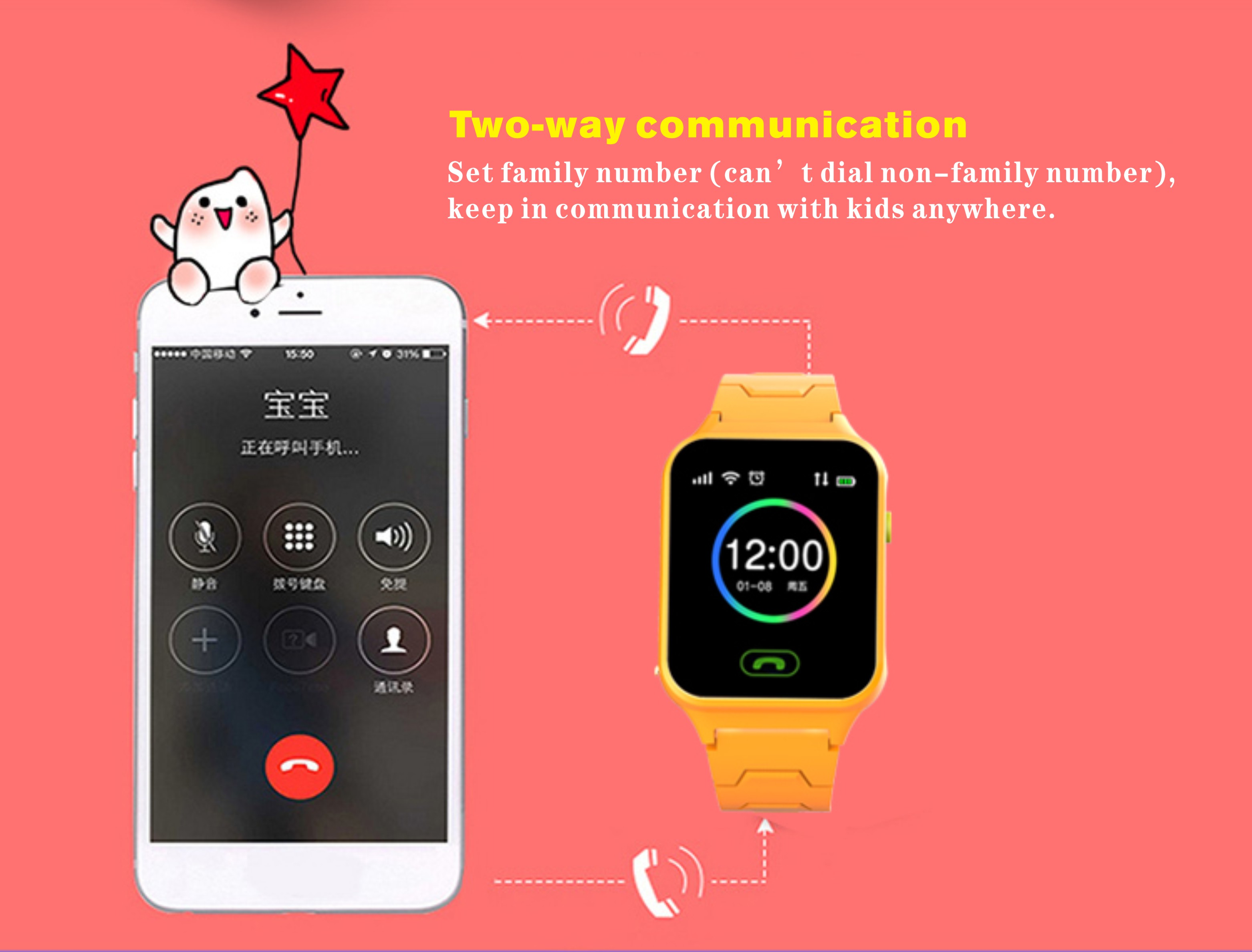 Bakeey M10 1.44inch GPS LBS Location Pedometer GSM Call Flashlight Camera Children Kids Smart Watch