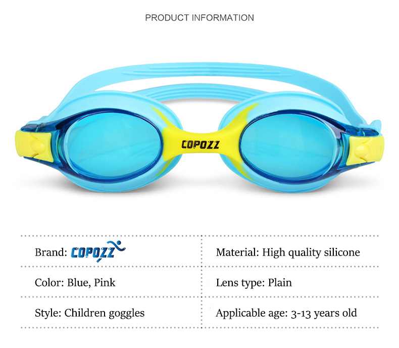 COPOZZ HD Children Goggles Anti Fog Waterproof Pool Swimming Glasses Kids Child Beginner Equipment