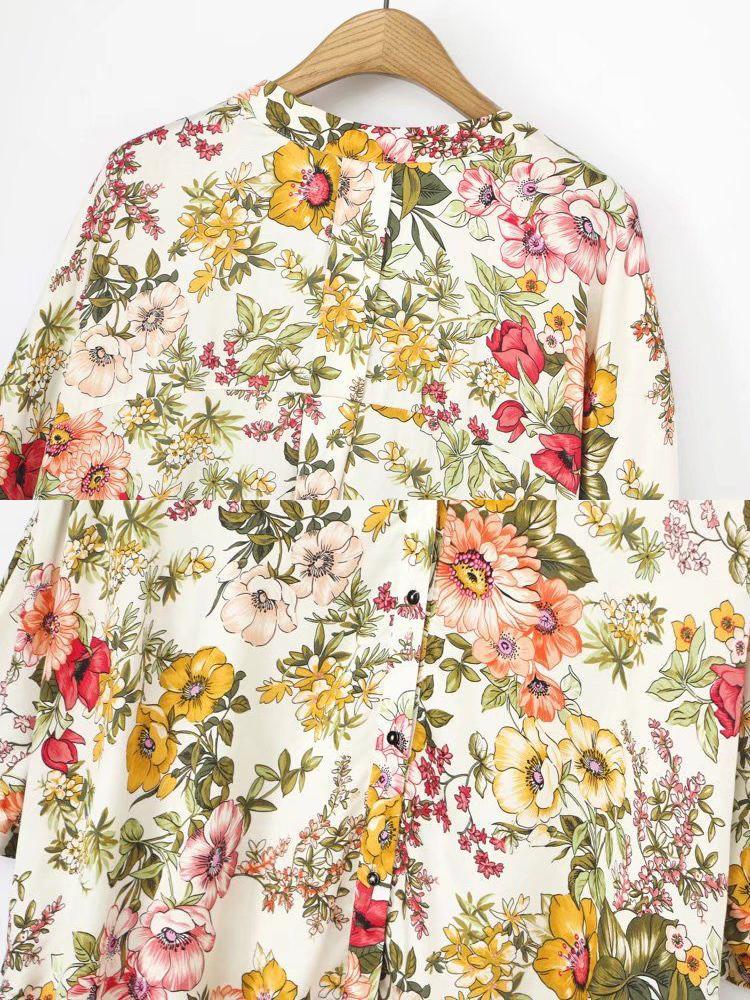 Women Floral Print 3/4 Sleeve Asymmetric Blouse