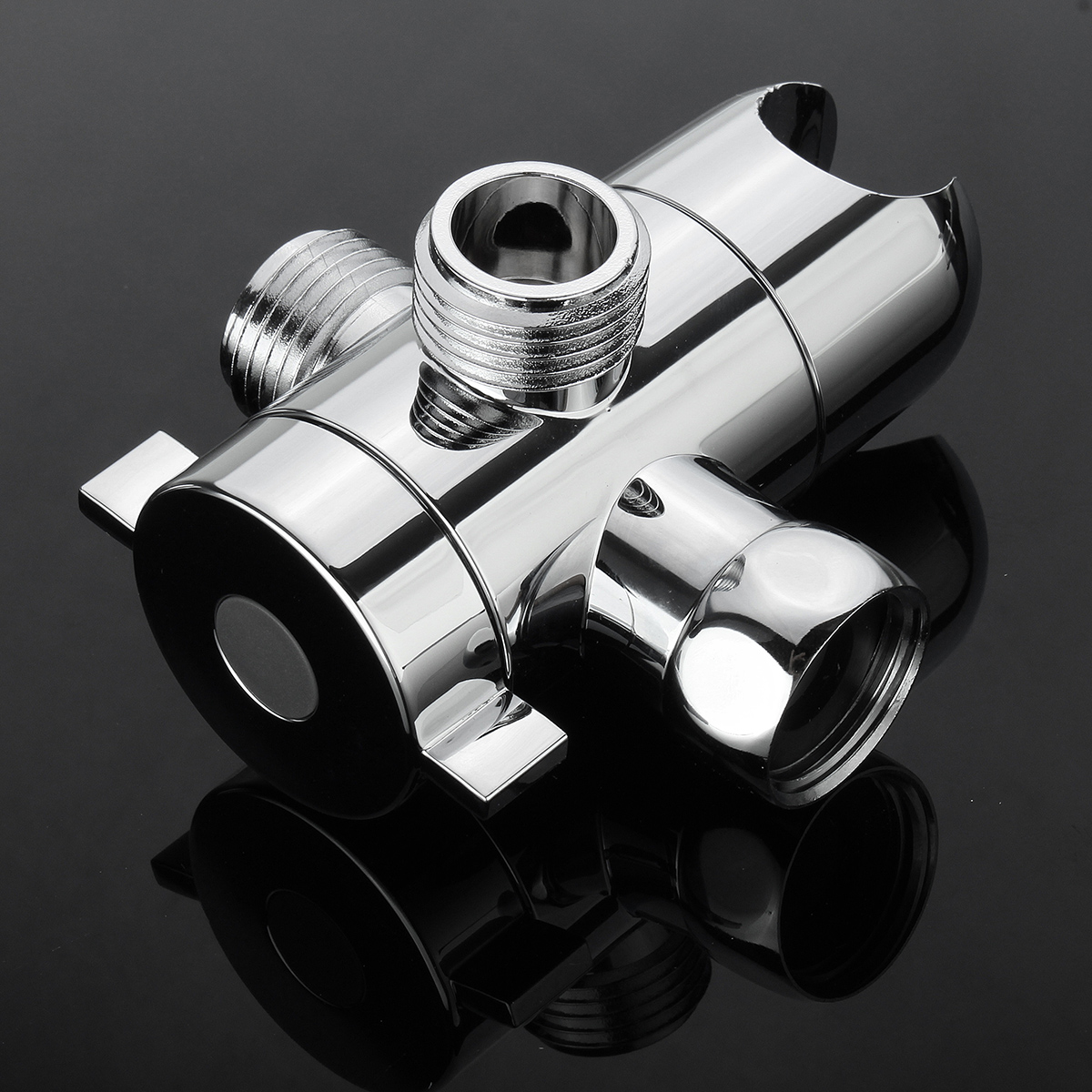 3-Way Shower Diverter Valve Convertor Mount Combo Shower Arm Handheld Fixed Bracket Chrome