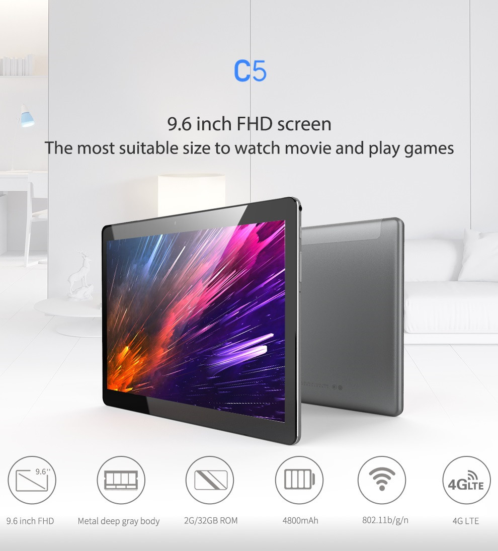 Original Box Alldocube Cube C5 32GB MTK6737 ARM A53 Quad Core 9.6 Inch Android 7.0 Dual 4G Tablet