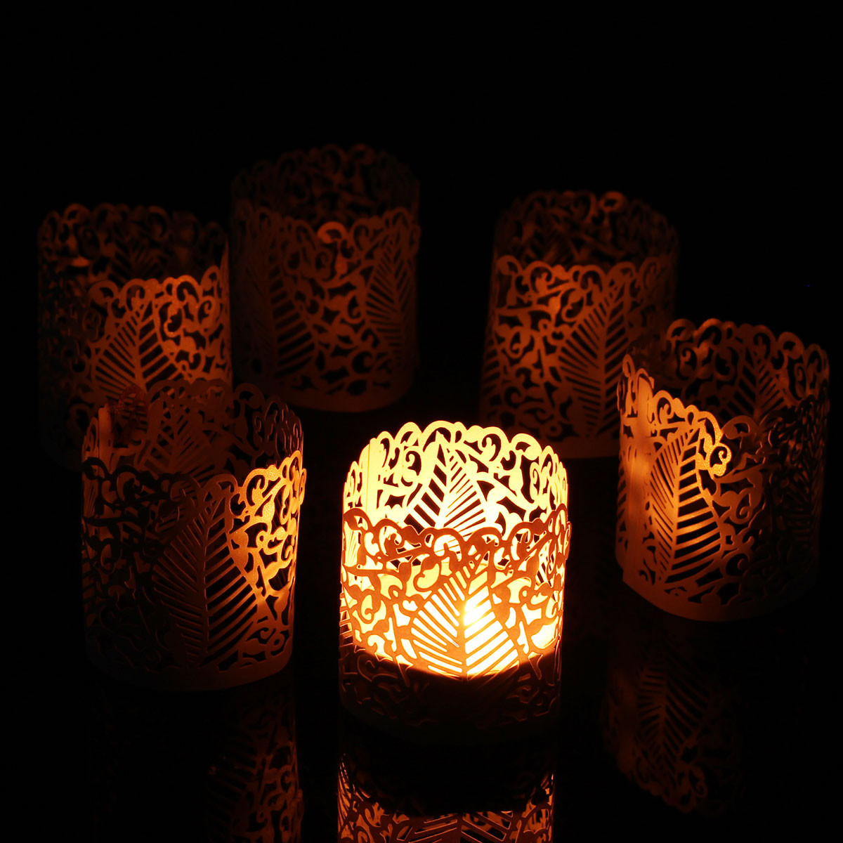 6PCS DIY Tea Light Candle Holders Lampshade Votive Wedding Party Table Decor Vintage Paper