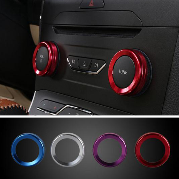 4pcs/Set Cars Alu Decoration Stereo Knob Ring Air Conditioning Knob Ring Circle for For Ford Edge