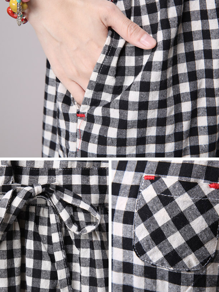 Vintage Women Short Sleeve Plaid Print Dresses
