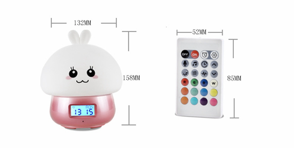 USB Rechargeable Remote Tap Control Color Changing Alarm Clock LED Bedside Night Light Kid Gift