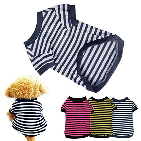 Dog Shirt Fashion Summer Pet Dog Classic Wide Stripes T-shirt Doggy Clothes Cotton Pet T-shirt