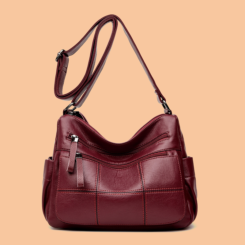 Women Solid Multi-Slot Soft Leather Crossbody Bag