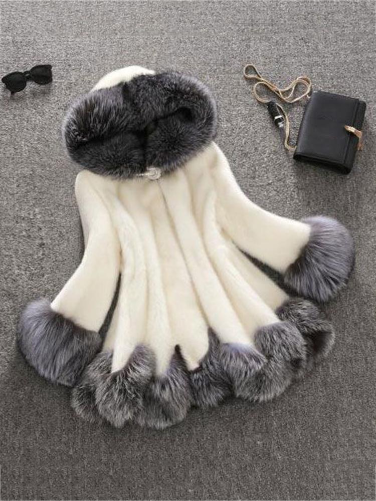 S-4XL Fashion Women Hooded Faux Fur Coats