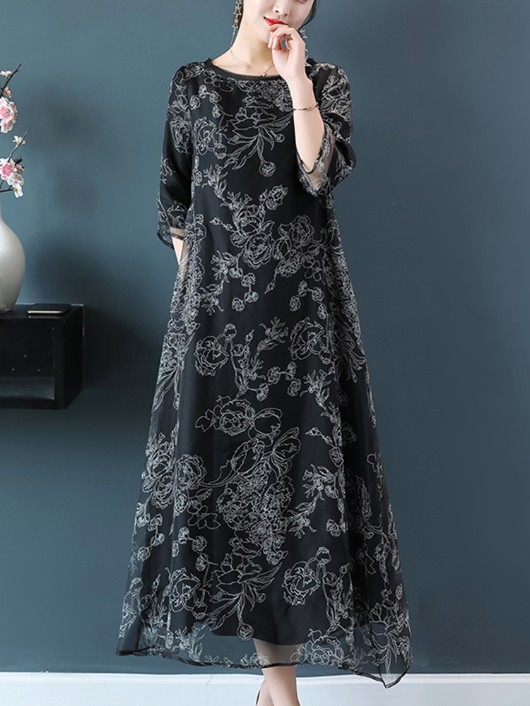 Women Elegant Floral Print O-neck A-line Dress