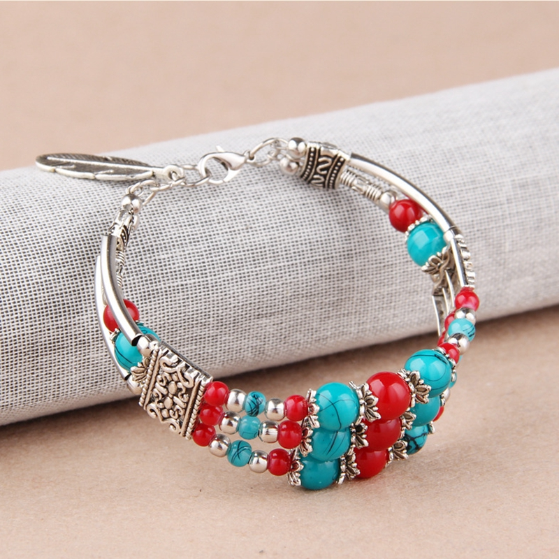 Ethnic Colorful Beads Tibetan Silver Leaf Women Bracelet