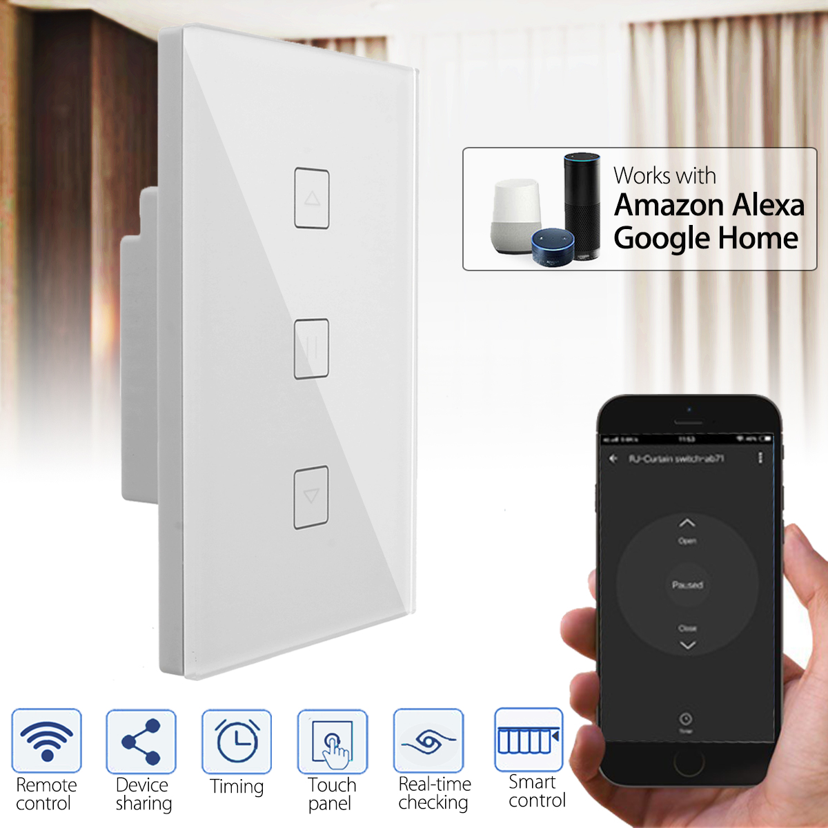 Smart WiFi Wall Socket Switch Panel Touch Sensor Curtain Wall Switch Work With Alexa Google Home