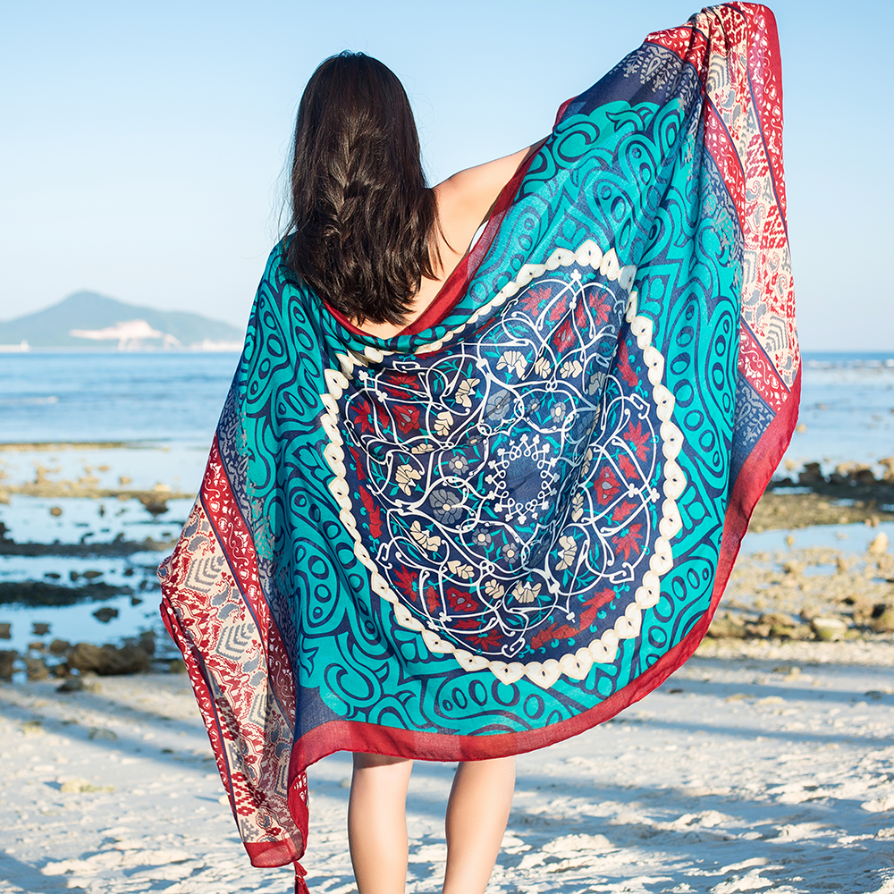 Women Summer Sunshade Silk Beach Scarves