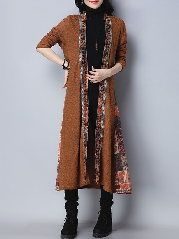 Folk Style Vintage Print Patchwork Long Sleeve Women Long Coats