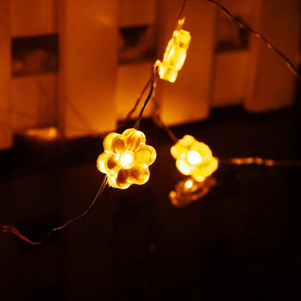 2M 18 LED Hex Apetalous Flower Battery Operated Xmas String Fairy Lights Party Wedding Decor