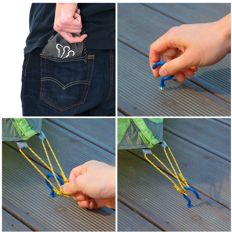 1PCS Spiral Tent Peg Hook Camping Canopy Deck Board Fixing Screw Spike Nail