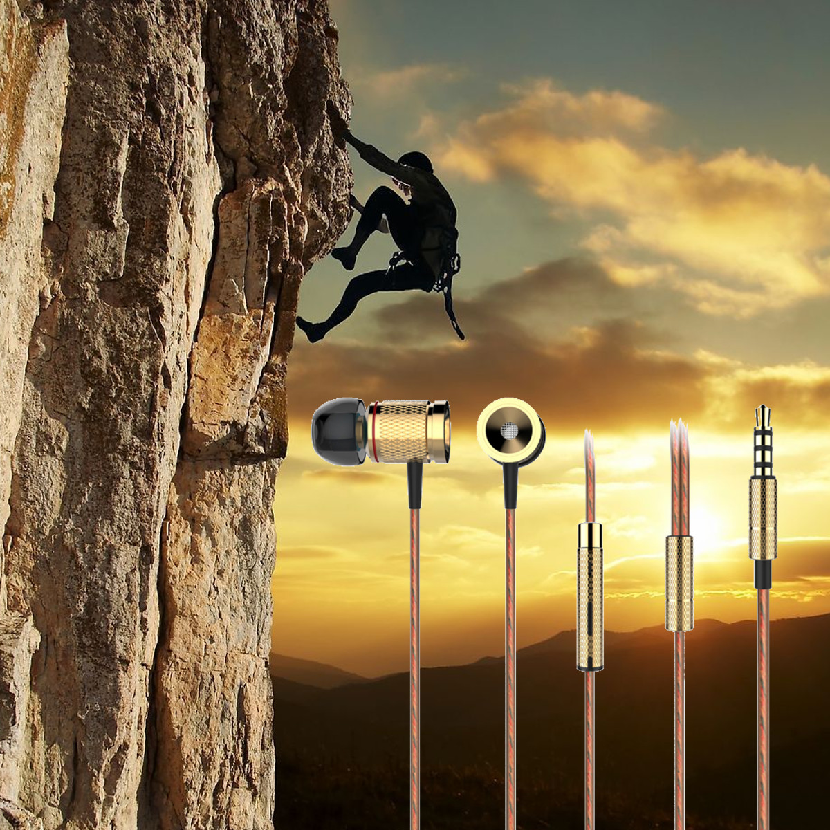 Universal Magnetic 3.5mm In-ear Earbud Stereo Sports Headphone Earphone with Mic
