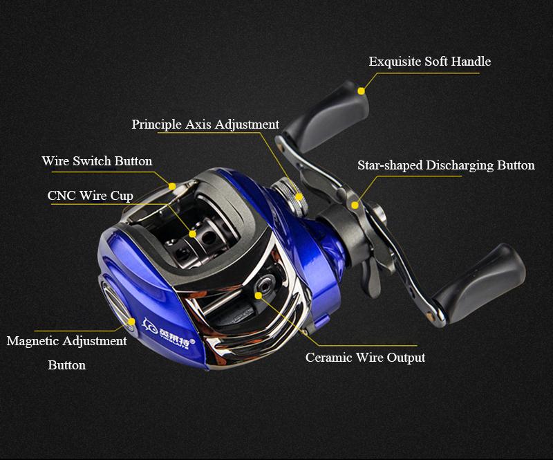 ZANLURE YLT100 6.3:1 10+1 BB Metal Fishing Baitcasting Reel Magnetic Brake Left/Right Hand Reel