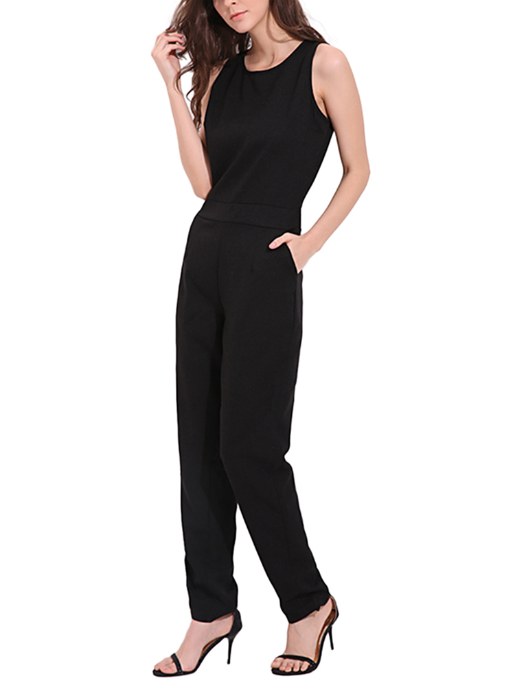 Casual Women Sleeveless Back Hollow Chiffon Jumpsuit