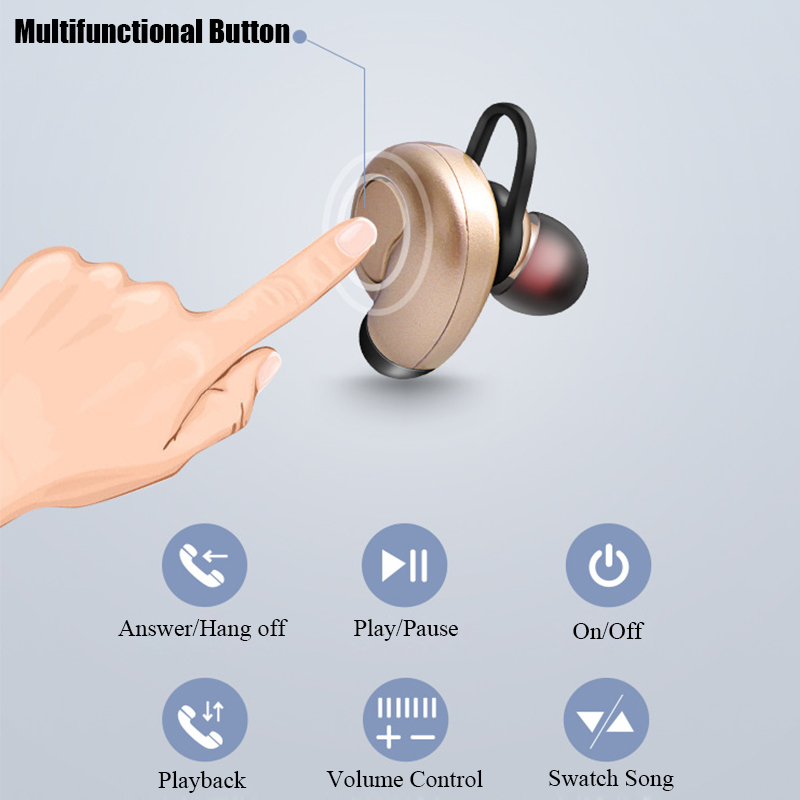 Caldecott S520 Mini Single Wireless bluetooth Earphone Stereo Bass Headphone for iPhone Samsung