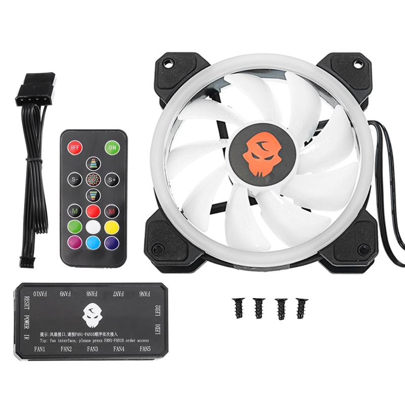 12V 12cm RGB LED Cooling Fan 3pin 4pin PC Case Cooling Fan With Remote Control Fan Controller