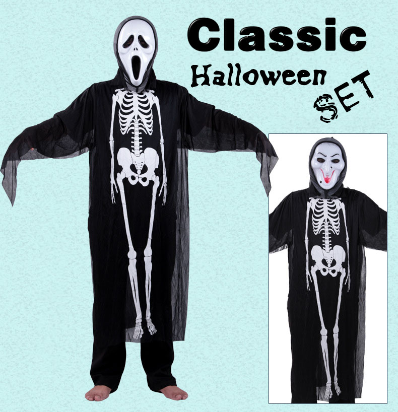Halloween Costume Ghost Festival Costume Skull Ghost Feathers Masquerade Dress Skirt Gloves Carnival Costumes