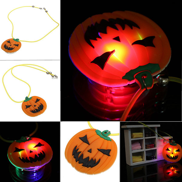 Halloween Party Led Light Luminous Cosplay Pumpkin Necklace Chain