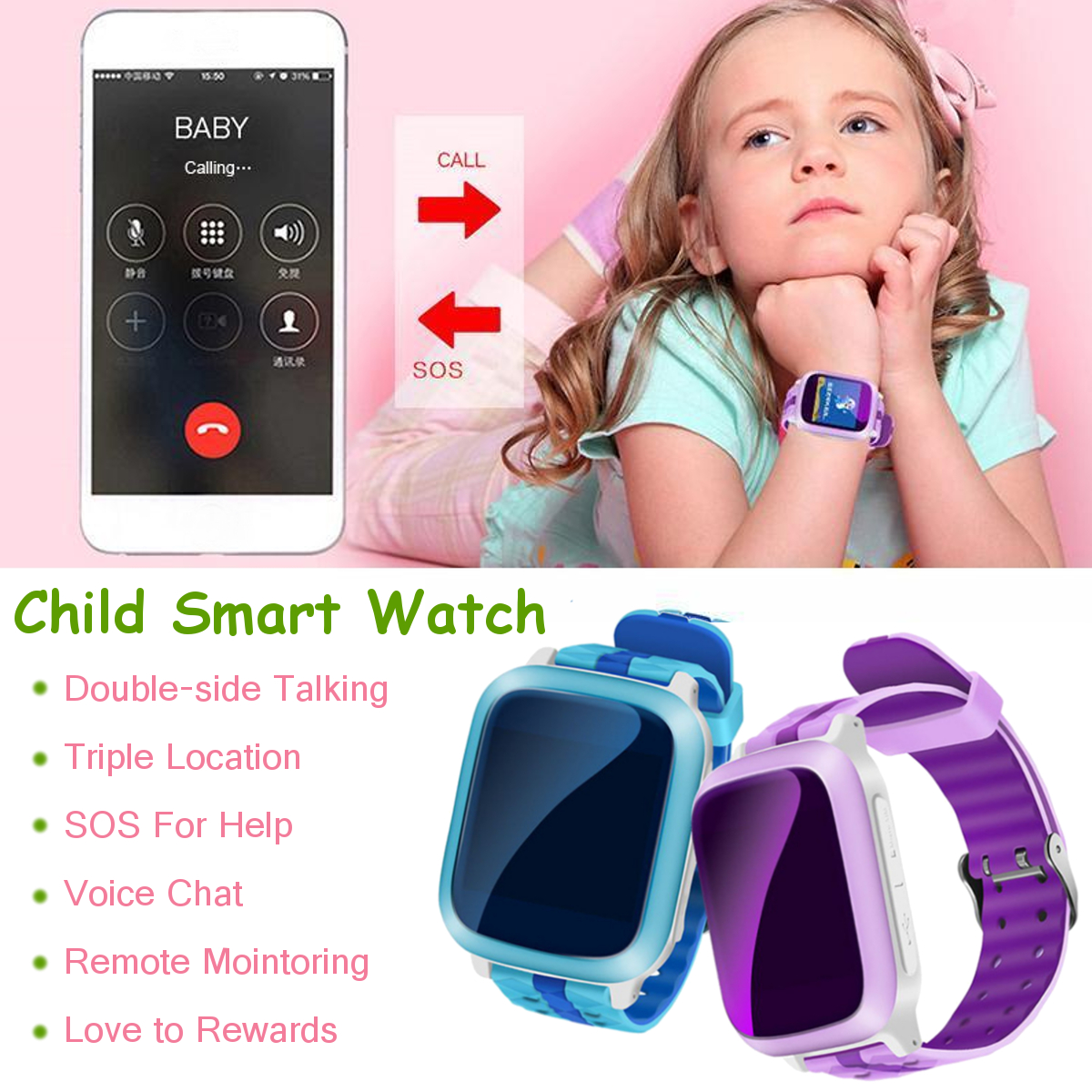 Bakeey GPS Tracker Anti-lost SOS Call Waterproof Smart Watch Kids Watch for Android/iOS