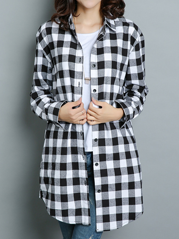 Women Blouse Lapel Neck Long Sleeve Plaid Shirts