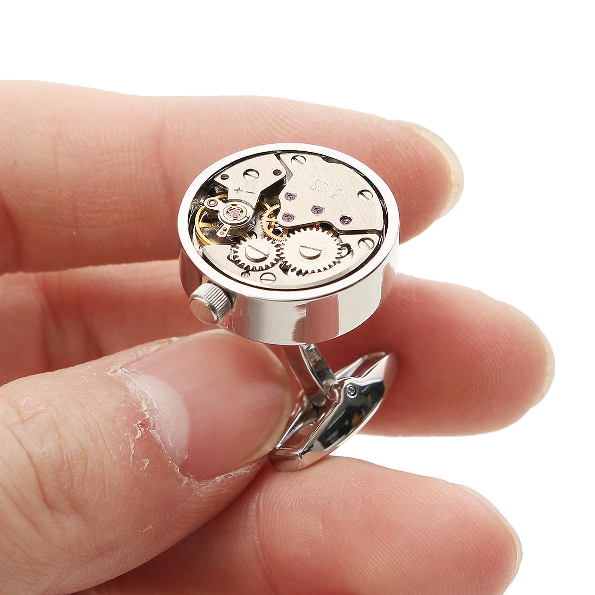 Mens Silver Mechanical Watch Pattern Bare Cufflinks Wedding Gift Suit Shirt Accessories