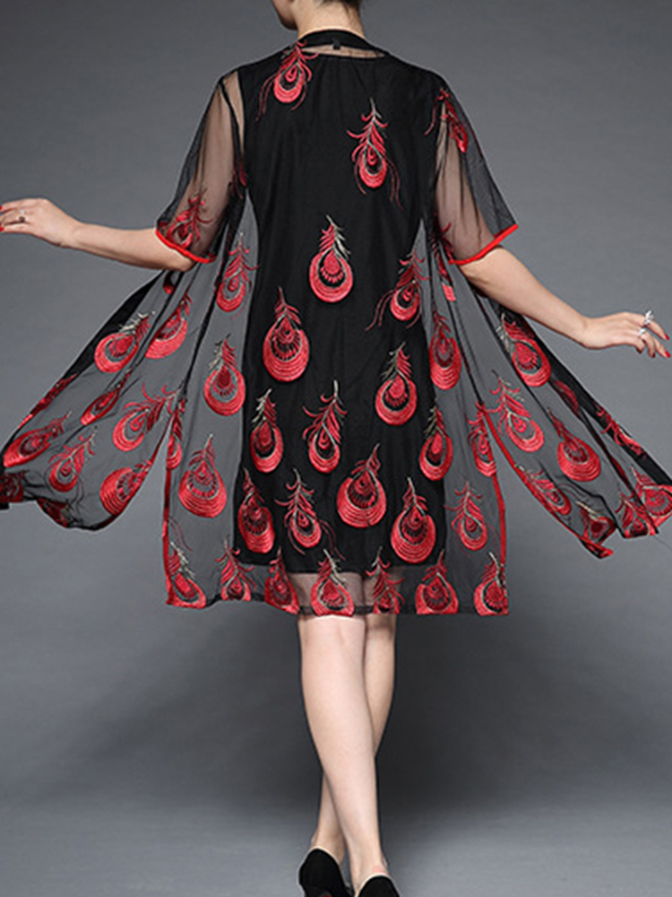 Plus Size Feather Embroidery Dress and Cardigan