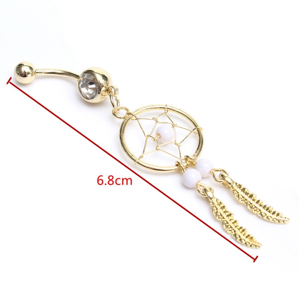 Star Shape Dream&Catcher Leaves Pendant Dangle Navel Bar Belly Ring