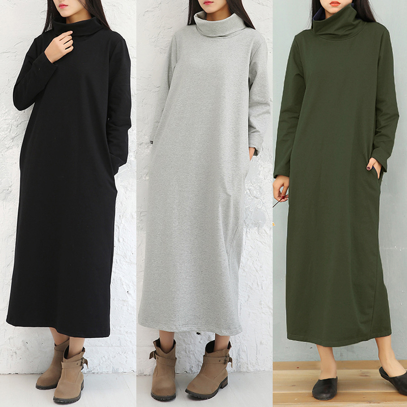 Casual Women Turtleneck Solid Color Pockets Hem Slit Dress