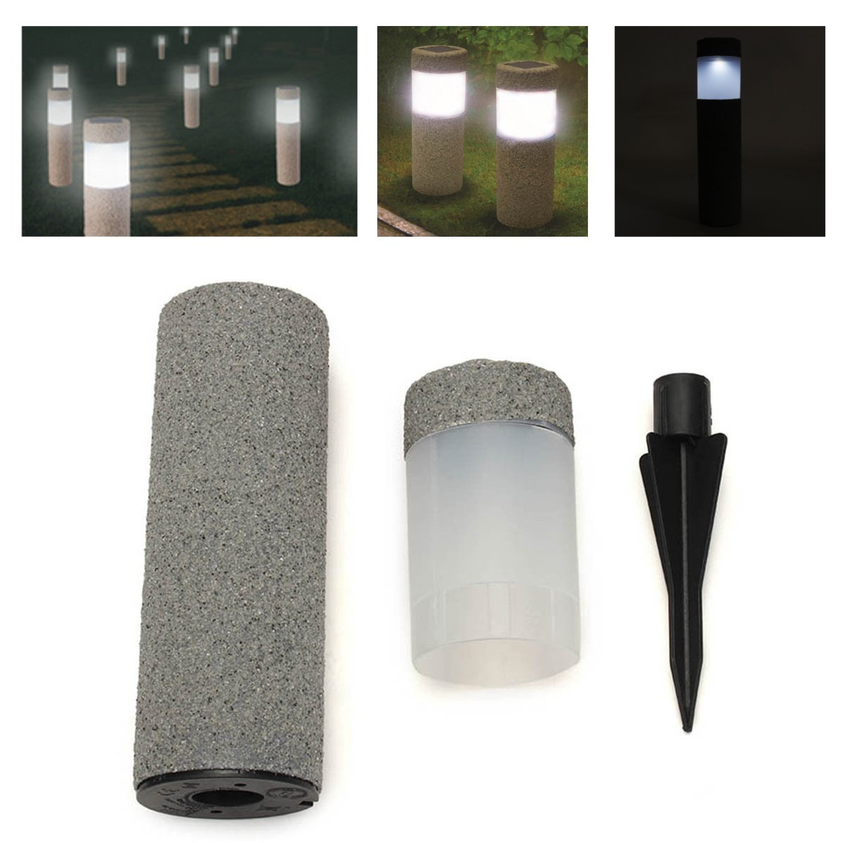 Waterproof Solar Light Power Stone Pillar LED Light Lamp Garden Lawn Courtyard Decor