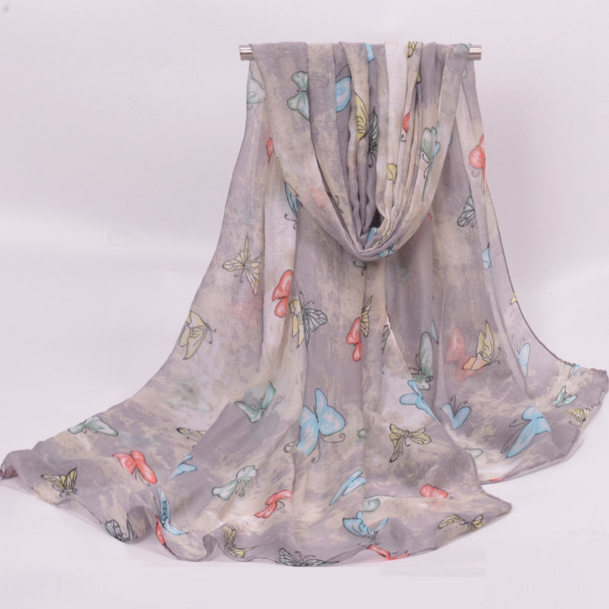 Women Ladies Cute Pastoralism Butterfly Printed Voile Scarves Stole Long Soft Shawl Wrap
