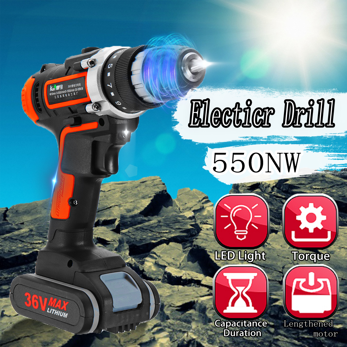 36V 550Nm Cordless Electric Drill 15+1 Screw Driver with 4800mAh Lithium Battery