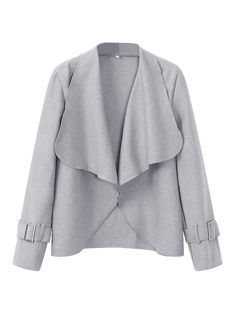 Elegant Women Irregular Pure Color Lapel Long Sleeve Short Jacket